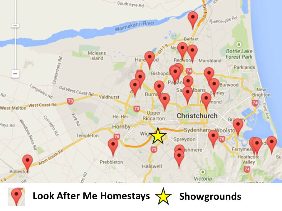 show day christchurch accommodation map holiday the show A&P show